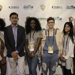 """The participants in """"The America I Am,"""" a national youth film competition presented by the Tribeca Film Institute. Kyle Ransom, right, won the grand prize."""