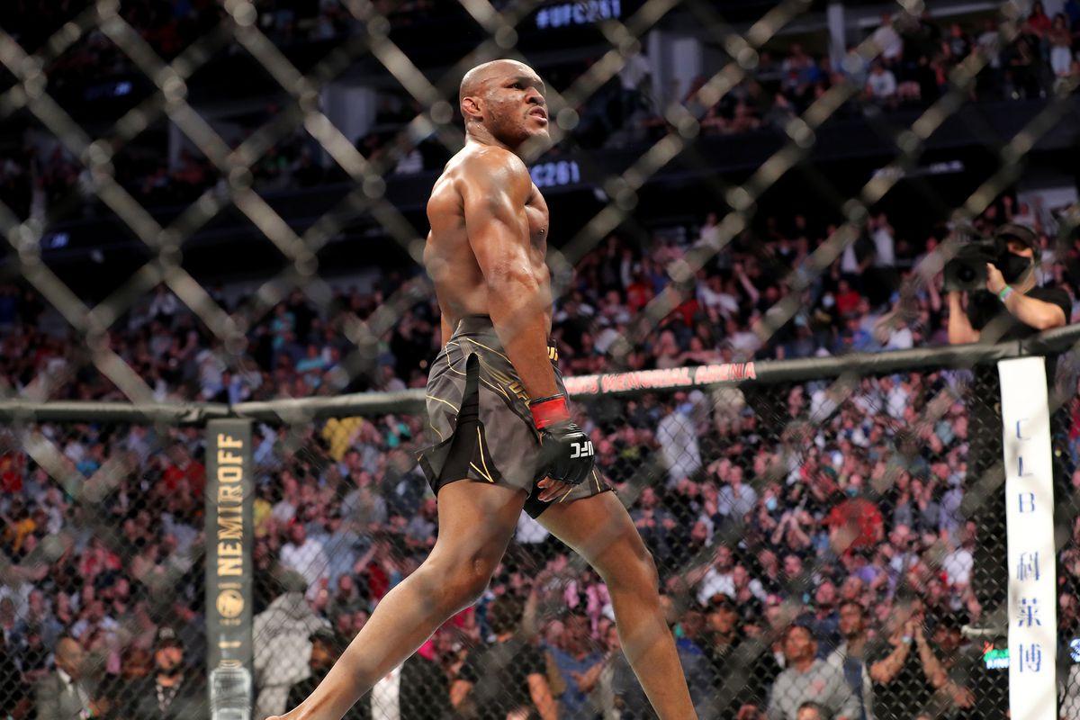 Kamaru Usman walks away in triumph after his KO of Jorge Masvidal at UFC 261.
