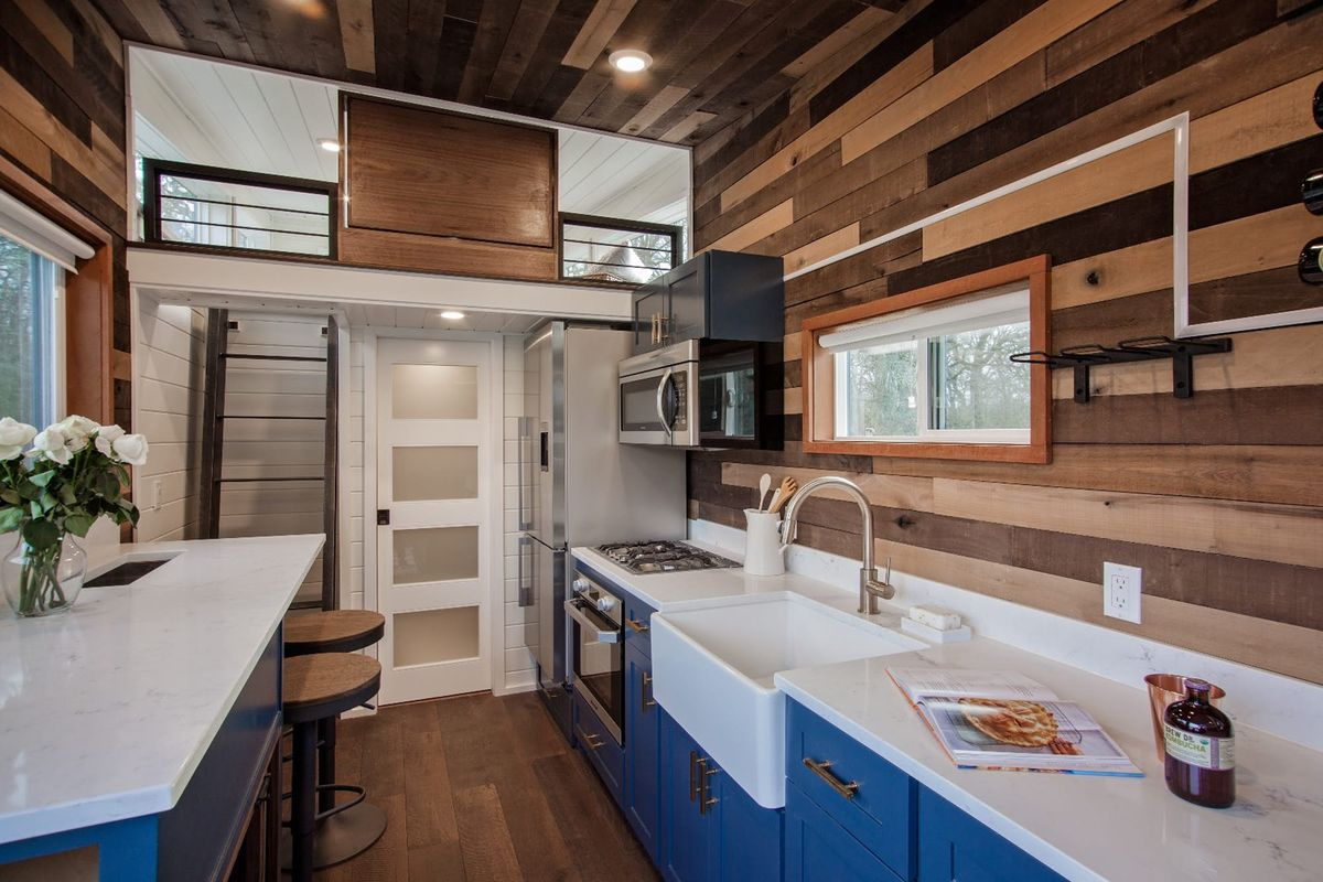 Tiny home kitchen with wet bar