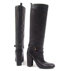 Yves Saint Laurent black buckle boots