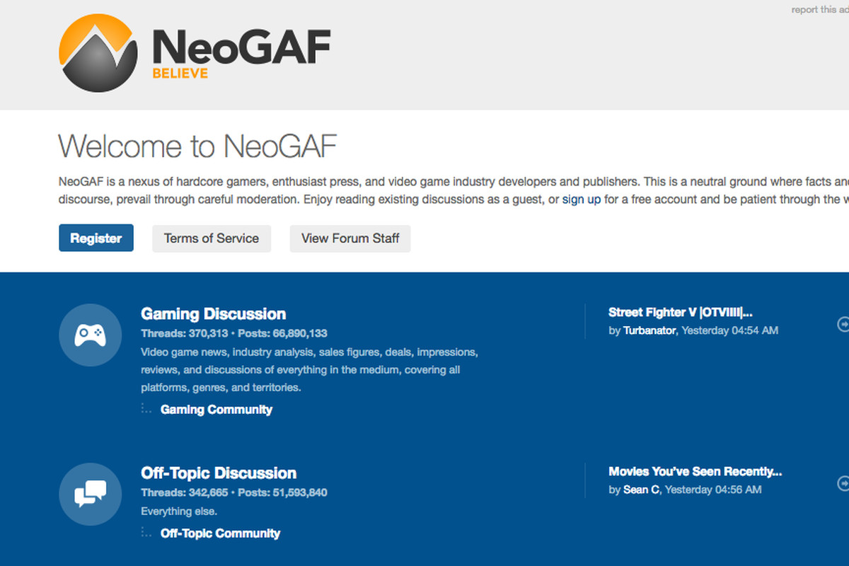 NeoGAF Home Page