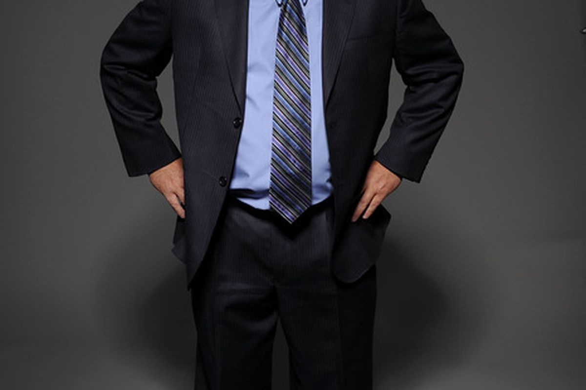 Barry Trotz seen here calling a misconduct on his tailor.