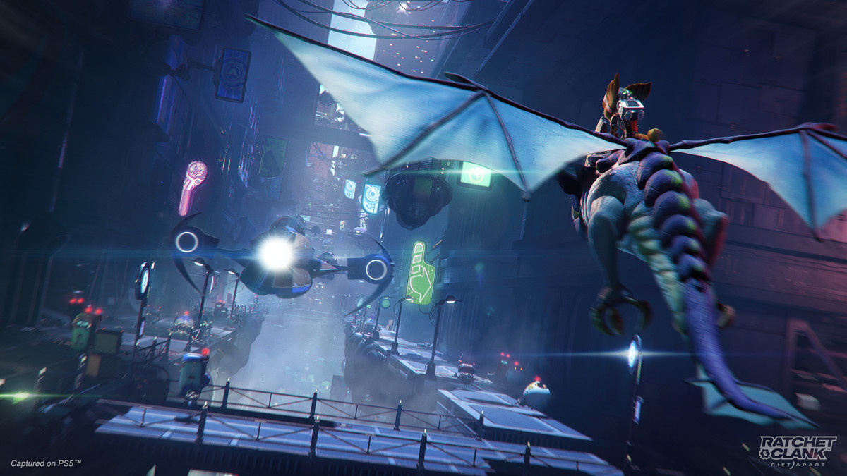 Ratchet rides a flying creature in Ratchet & Clank: Rift Apart
