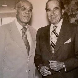 Maurice Abravanel (left) is photographed with George Eccles, a longtime family supporter of Utah Symphony. Abravanel was music director for the Utah Symphony for 32 years.