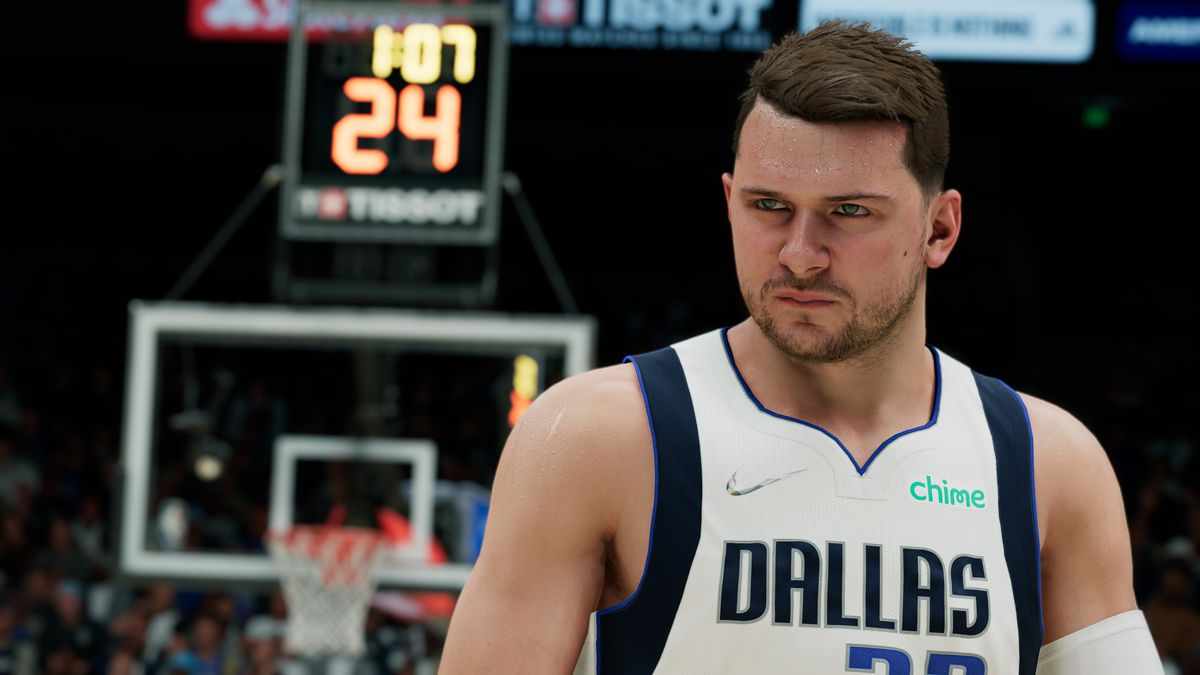 Luka Doncic with a backboard behind him in NBA 2K22