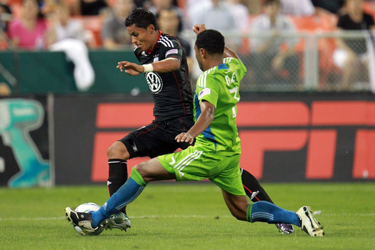 WASHINGTON - JULY 15: Andy Najar #14 of D.C. United controls the ball against James Riley #7 of Seattle Sounders FC at RFK Stadium on July 15 2010 in Washington DC. (Photo by Ned Dishman/Getty Images)