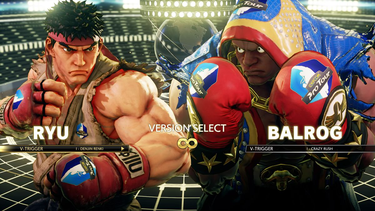 Ryu and Balrog face every other in a loading cover from Boulevard Fighter 5 displaying off costume adverts.