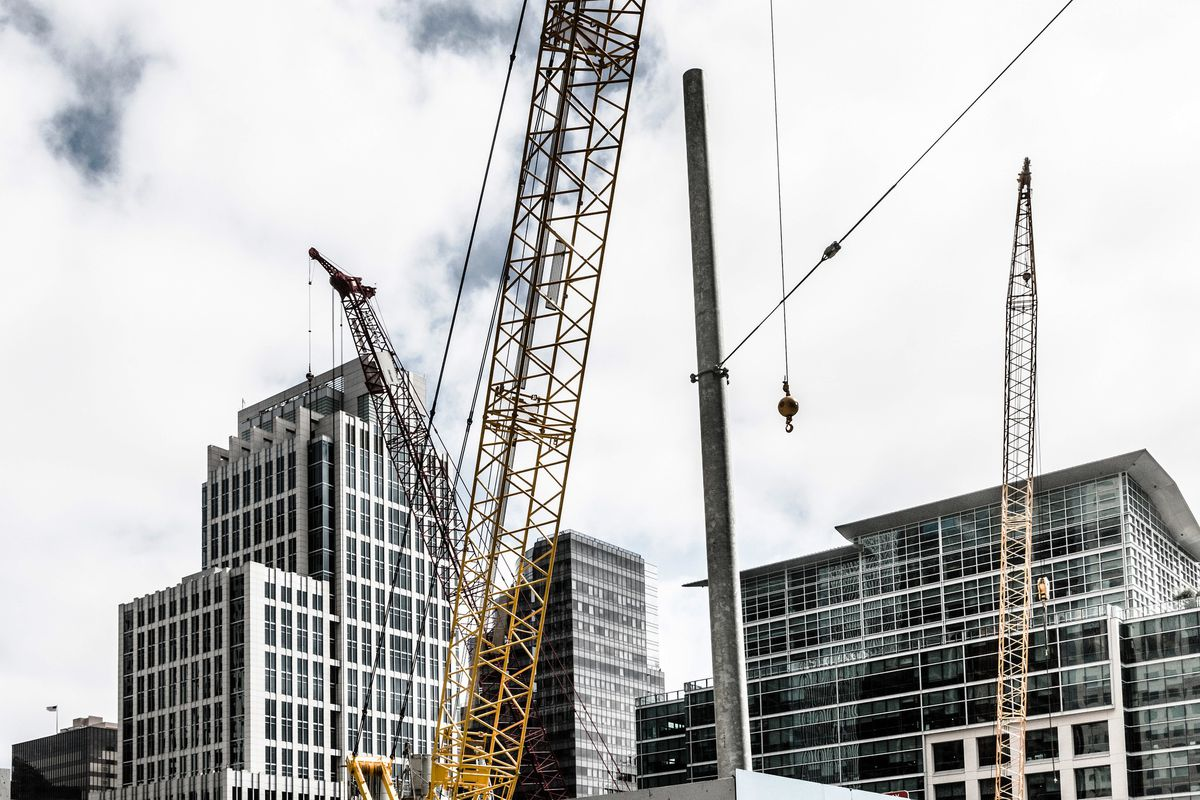 Construction cranes in San Francisco