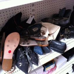 The jumble of shoes.