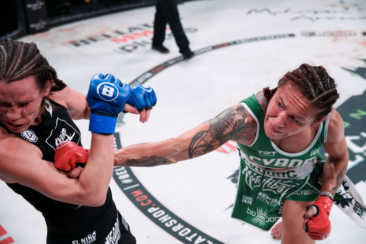 Cris Cyborg stopped Leslie Smith with seconds to go in their Bellator 259 main event.