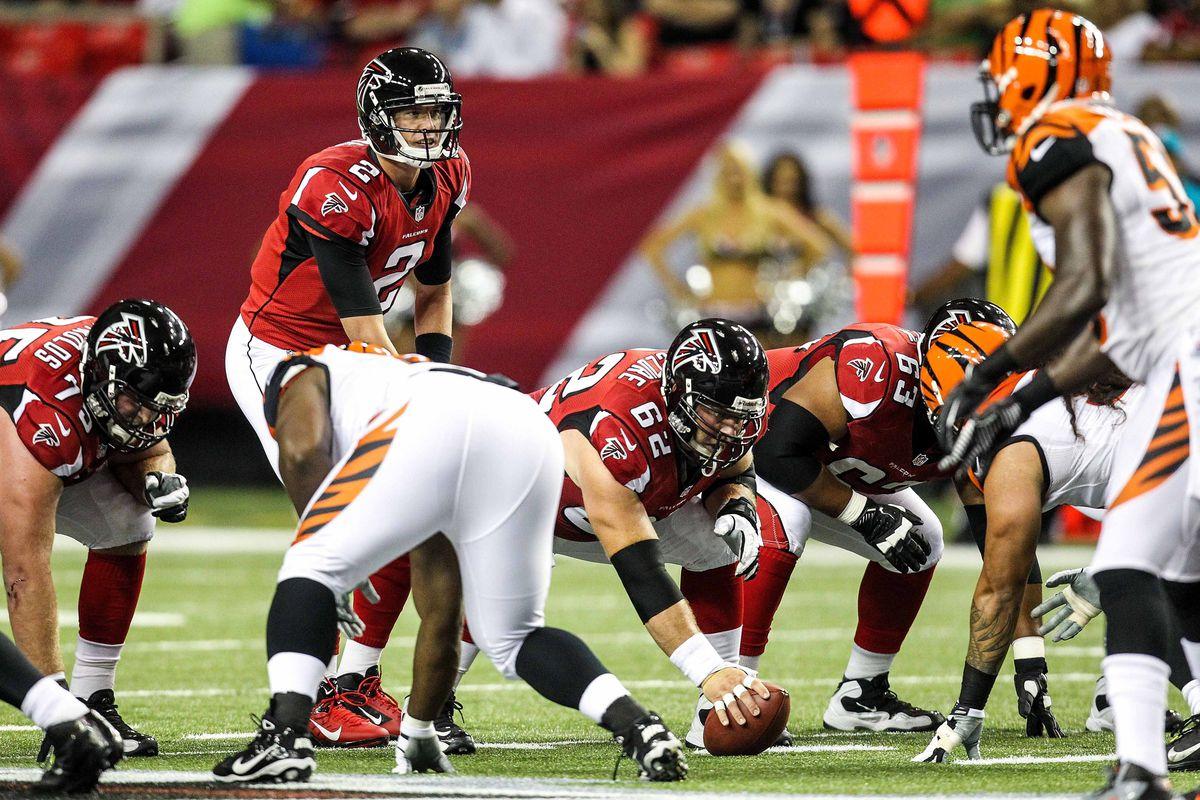 August 16, 2012; Atlanta, GA, USA; Atlanta Falcons quarterback Matt Ryan (2) during the game against the Cincinnati Bengals at the Georgia Dome. The Bengals beat the Falcons 24-19. Mandatory Credit: Daniel Shirey-US PRESSWIRE
