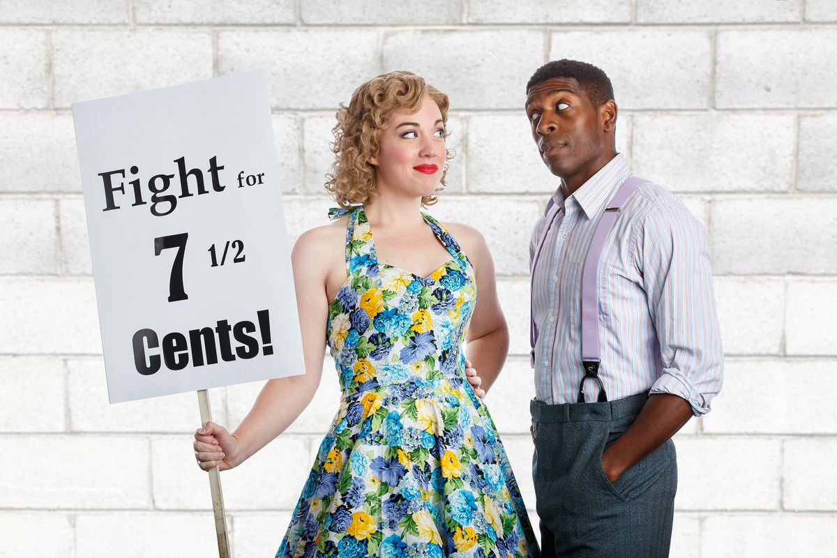"""Curtis Bannister as Sid and Elizabeth Telford as Babe in """"The Pajama Game"""" at Theatre at the Center."""
