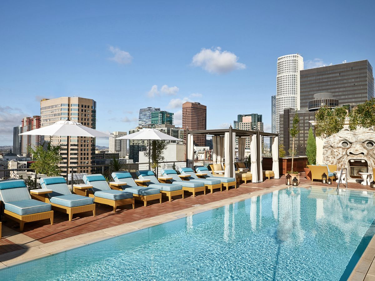 The rooftop pool at NoMad Los Angeles