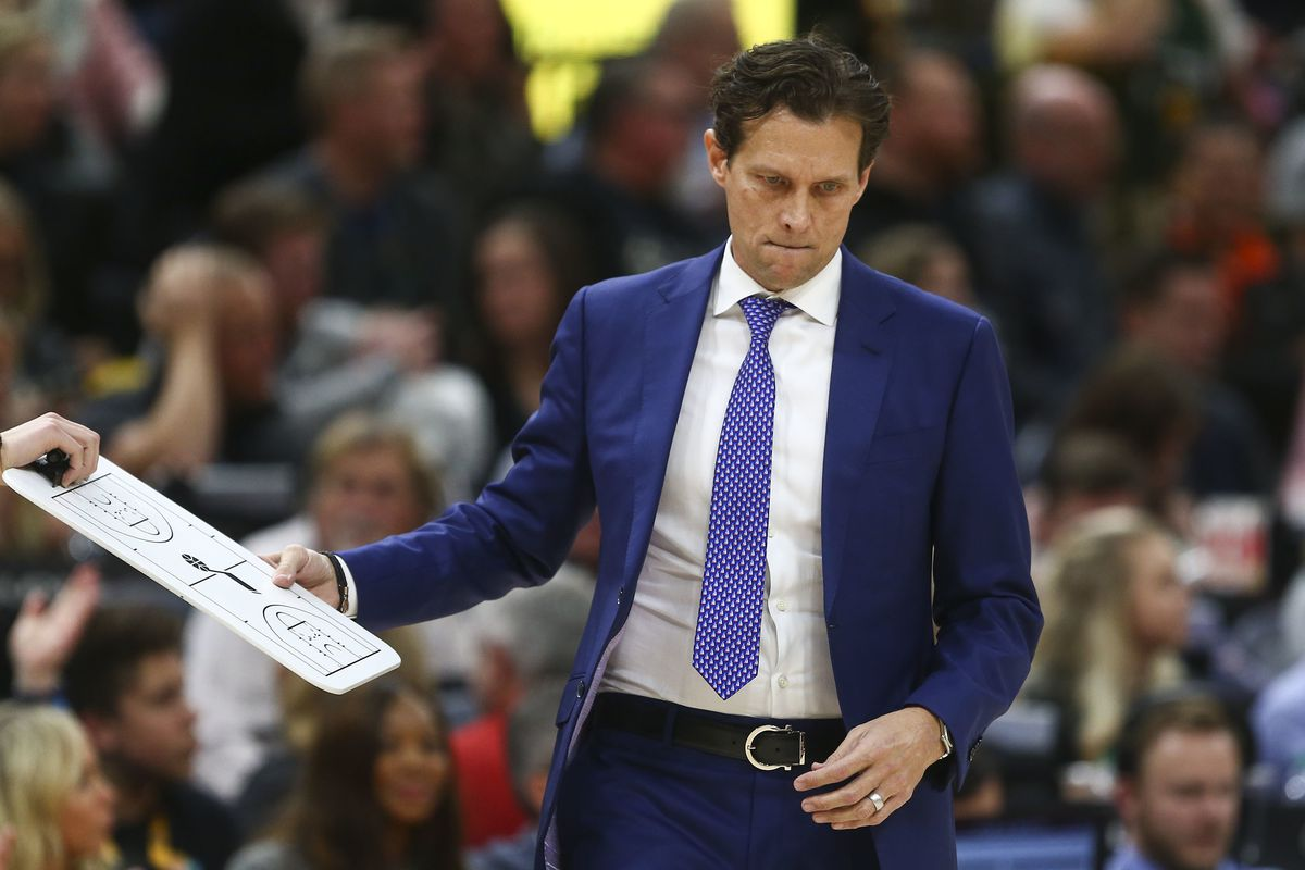 Utah Jazz head coach Quin Snyder takes a clipboard during a timeout in the second half of the game against the Detroit Pistons at the Vivint Smart Home Arena in Provo on Monday, Jan. 14, 2019.
