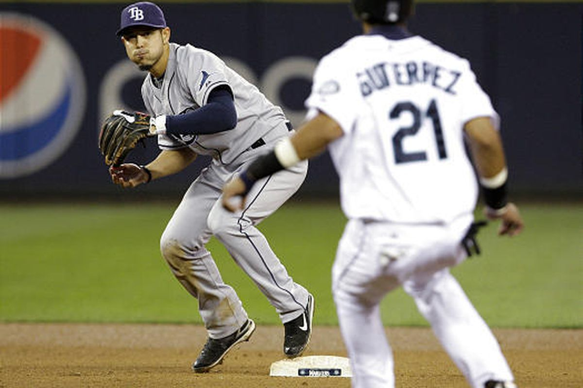 Seattle Mariners' Franklin Gutierrez pulls up after being forced out heading toward second base by Tampa Bay Rays shortstop Jason Bartlett.