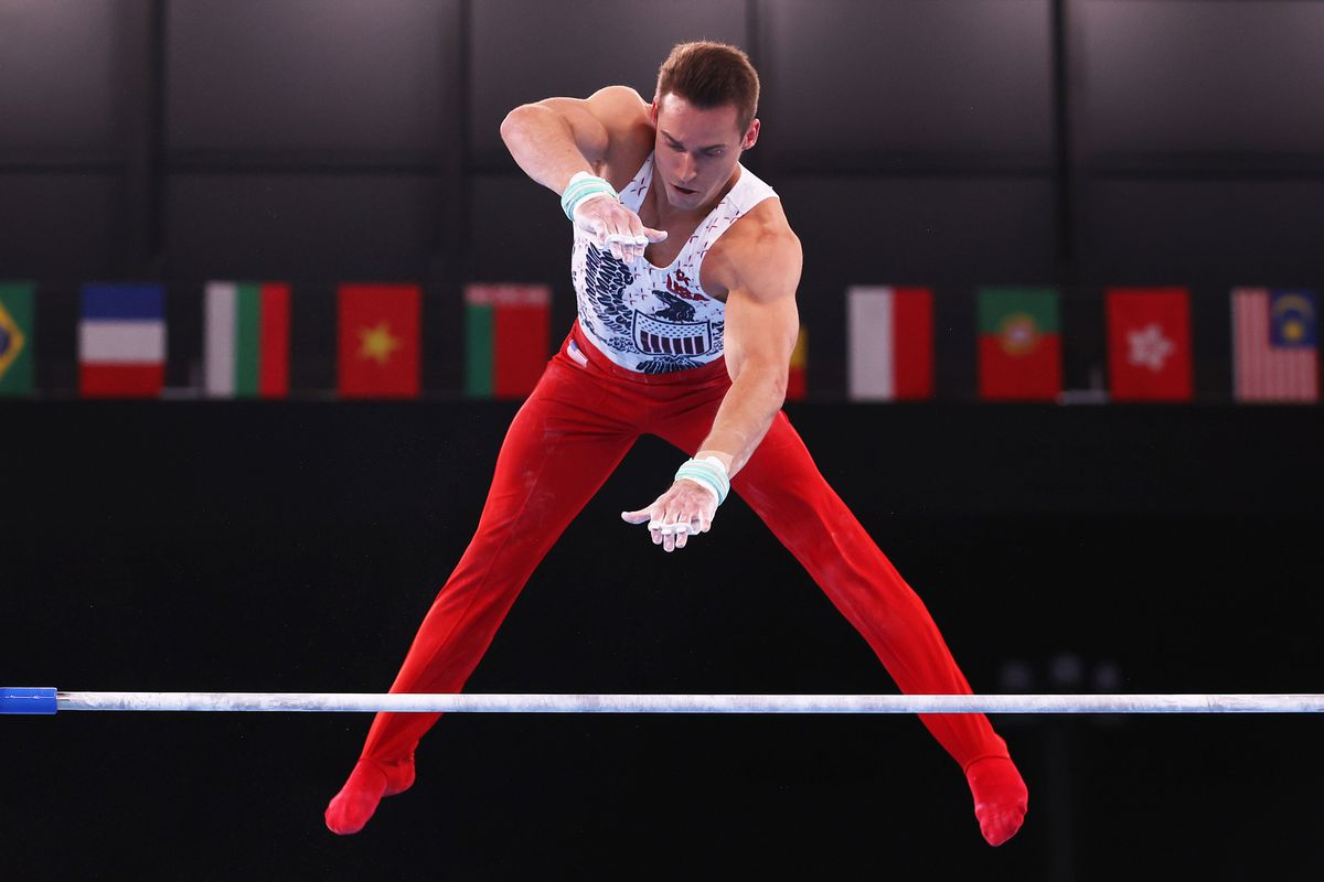 Samuel Mikulak of Team United States competes on the horizontal bar during Men's Qualification on day one of the Tokyo 2020 Olympic Games at Ariake Gymnastics Centre on July 24, 2021 in Tokyo, Japan.