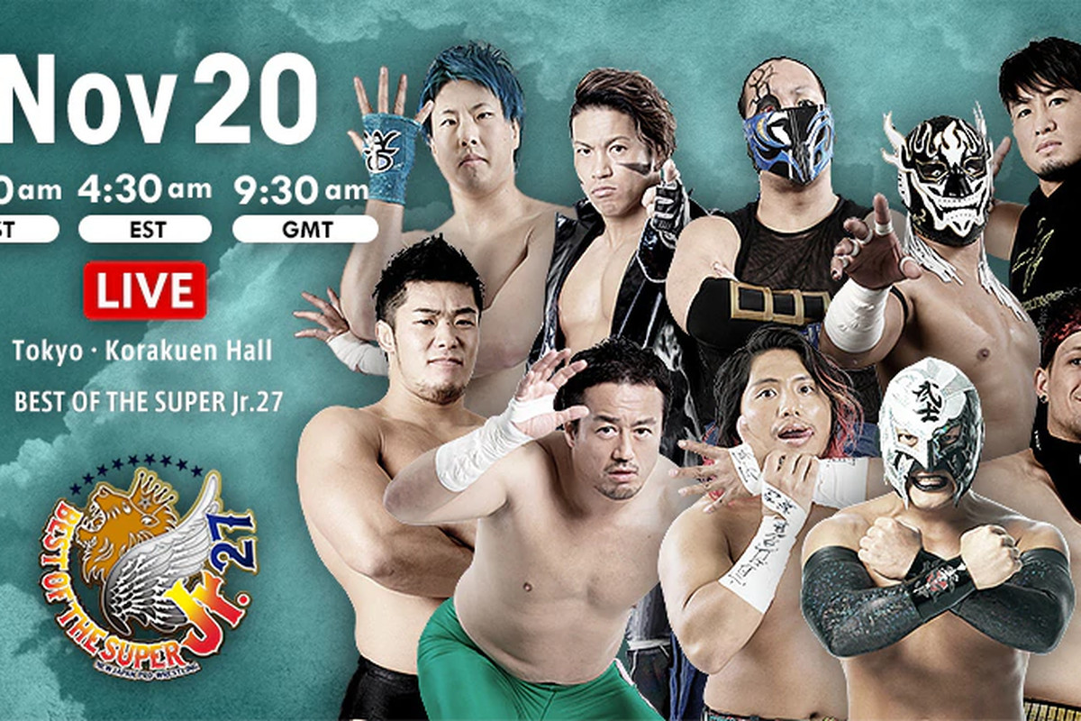 Lineup graphic for night five of NJPW Best of the Super Jr. 27