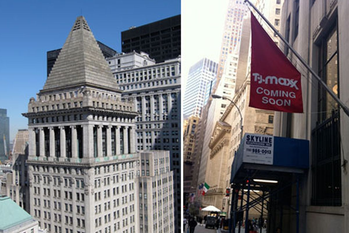 """Left: 14 Wall Street via <a href=""""http://commons.wikimedia.org/wiki/File:14_Wall_Street_001.JPG"""">Gryffindor</a>/Wikimedia. Right: The flag."""