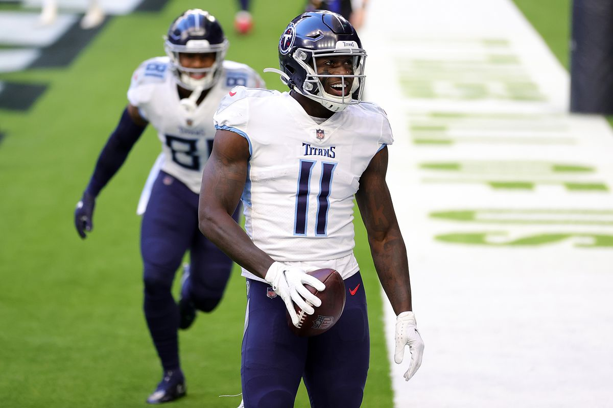A.J. Brown #11 of the Tennessee Titans celebrates a touchdown during the first half against the Houston Texans at NRG Stadium on January 03, 2021 in Houston, Texas.