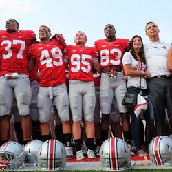 Nicki and Shelley Meyer join the team to sing Carmen Ohio.