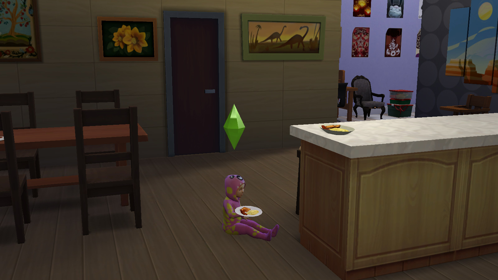 a sims 4 toddler eats eggs and bacon on the floor