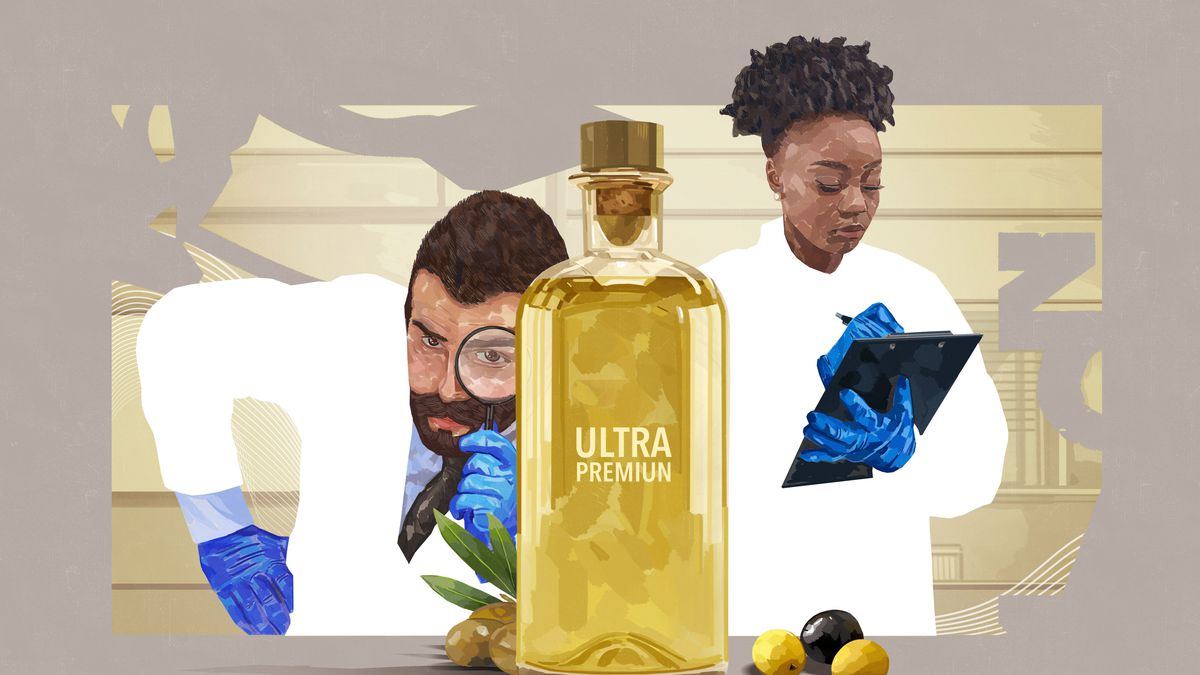 """A man with a magnifying glass examines a bottle of olive oil with the words """"ultra premiun"""" as a woman writes on a clipboard"""