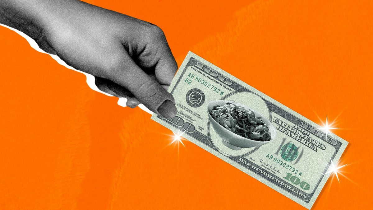 A hand holds a hundred dollar bill with an image bowl of noodles