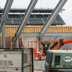 Wooden boards still in place atop the right-field wall -