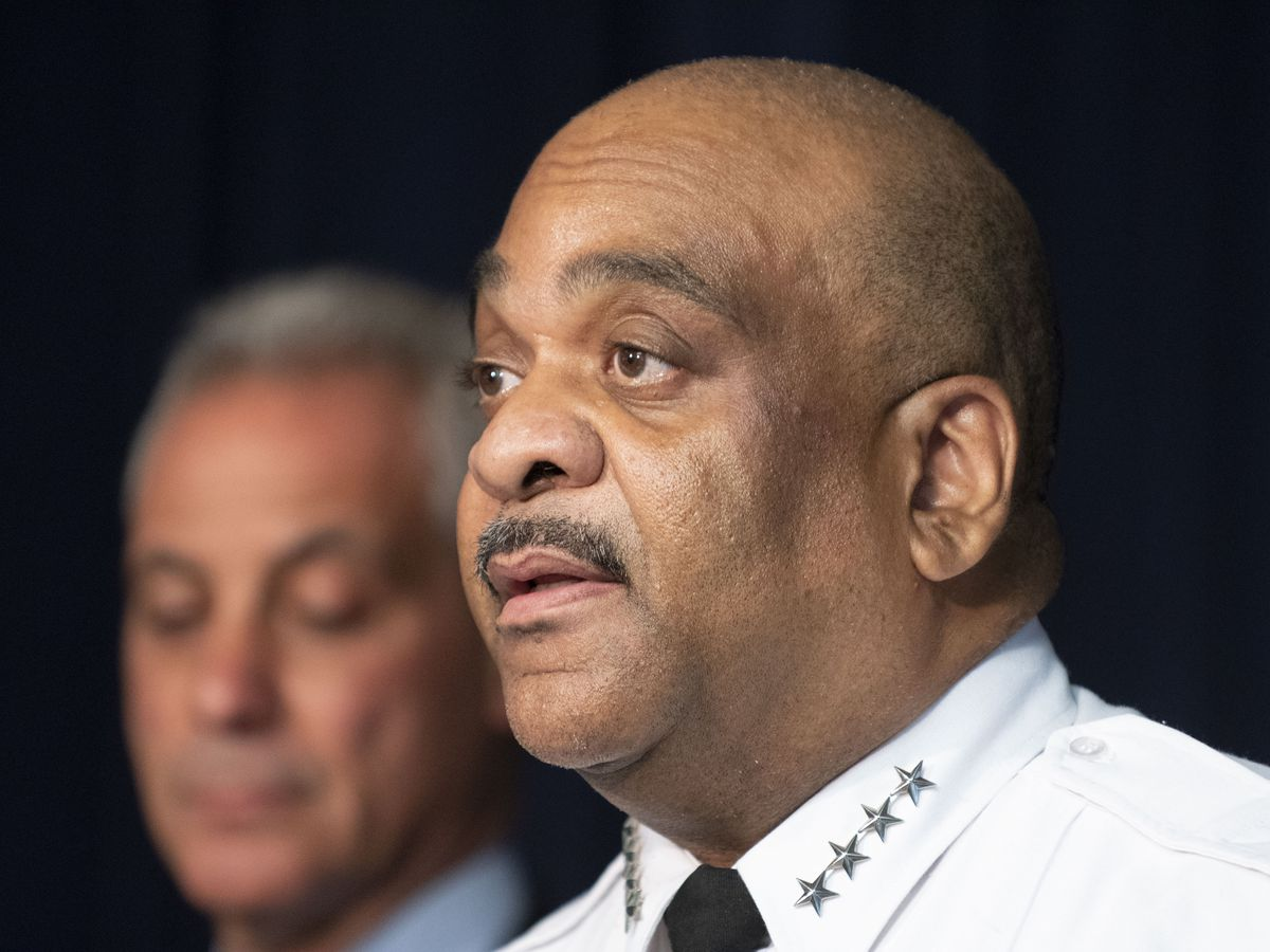 Eddie Johnson speaks at a press conference on the draft of the consent decree in a file photo from July 27, 2018.