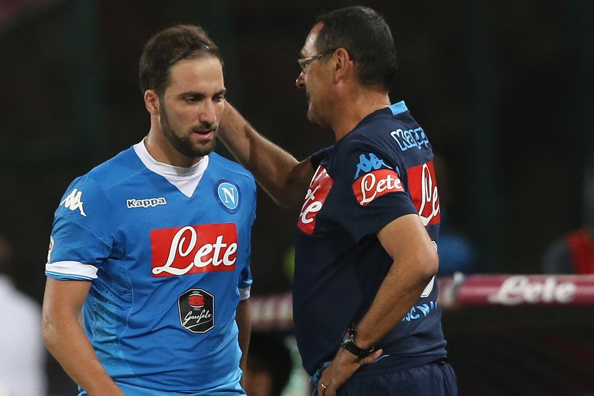 Image result for Maurizio Sarri with  Gonzalo Higuain