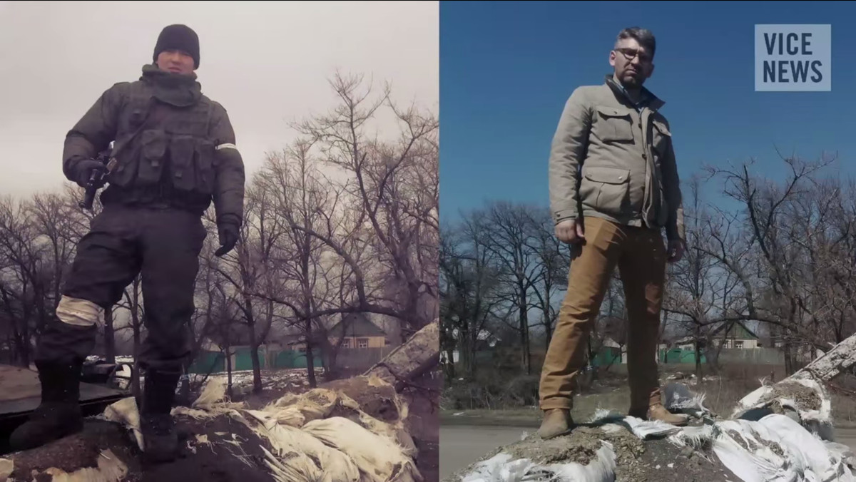 Russian soldier Bato Dambaev, now unmarked, in eastern Ukraine at left. Ostrovsky at the same location at right. (still image from Vice News)