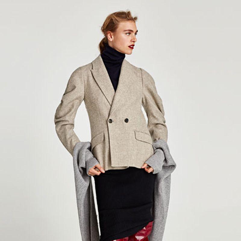 Zara Wool Blazer With Full Sleeves