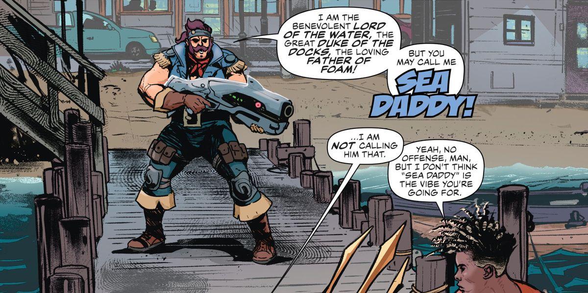"""New supervillain """"Sea Daddy"""" attempts to menace Aquaman and Aqualad, in Aquaman Annual #2, DC Comics (2019)."""