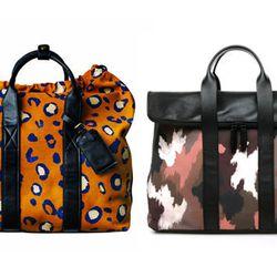 """Printed carryall. Right: 31 Hour bag, <a href=""""http://www.aloharag.com/eng/3-1-phillip-lim-af13-0191paim-31-hour-dk-camo.html"""">$795</a> at Aloha Rag Navy camo-paneled shirt, <a"""