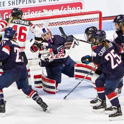 Team USA Goaltender Nicole Hensley makes a blocker save through traffic against Team Canada on Oct 25th, 2017 in Boston's Agganis Arena