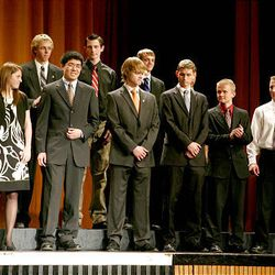 Finalists in the science category take the stage at Cottonwood High School during the Sterling Scholar awards ceremony on Wednesday night.