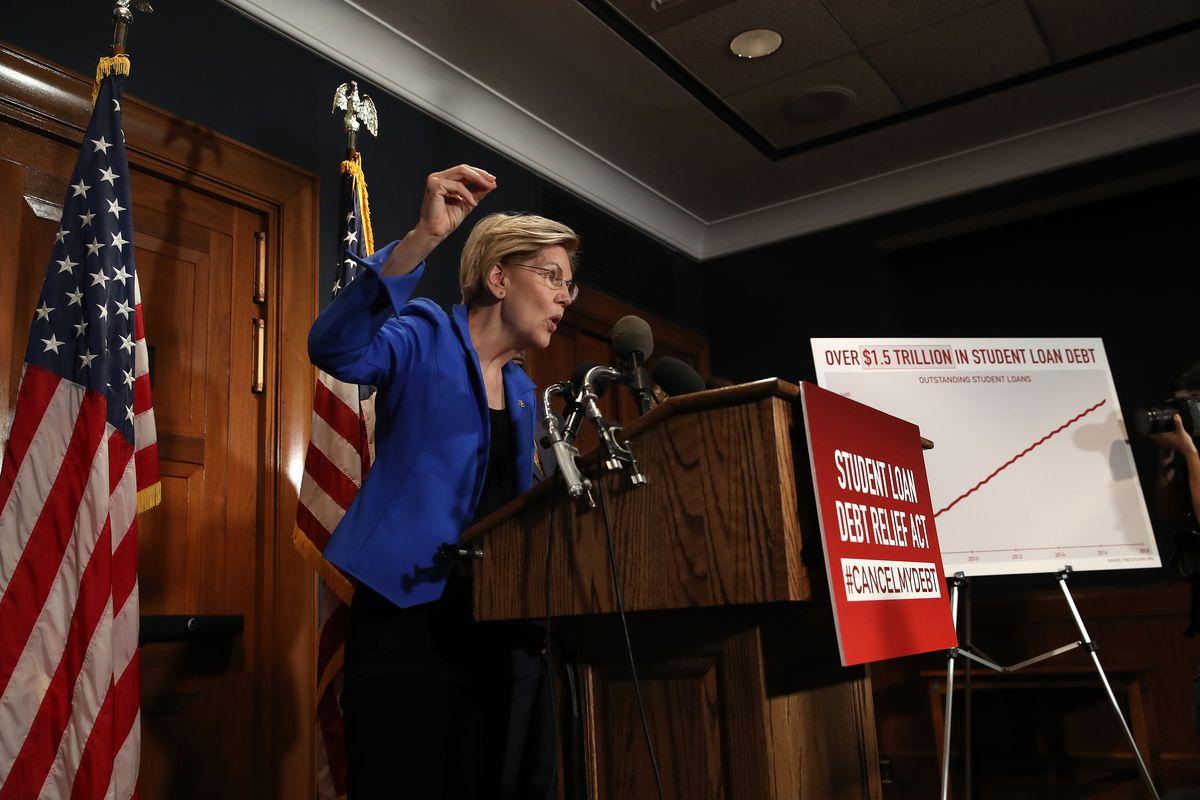 Elizabeth Warren speaking at a podium.