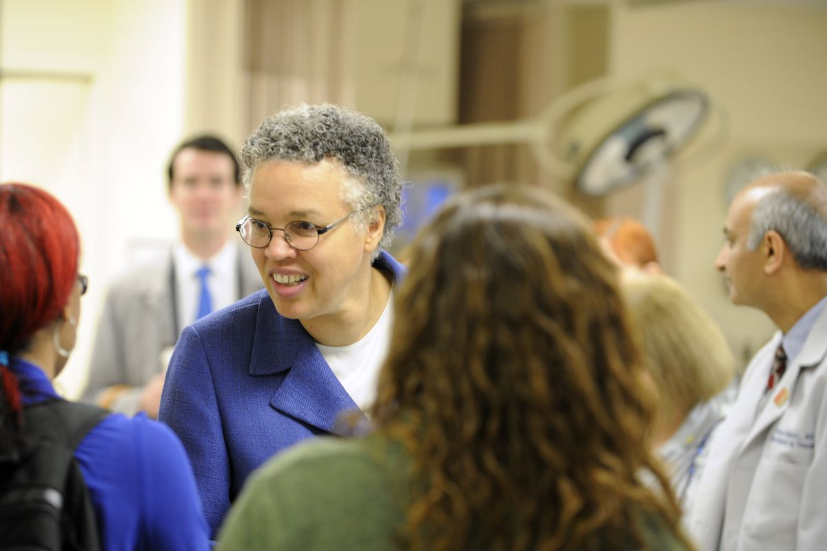 Cook County Board President Toni Preckwinkle visits John H. Stroger Jr. Hospital in 2012. File Photo.