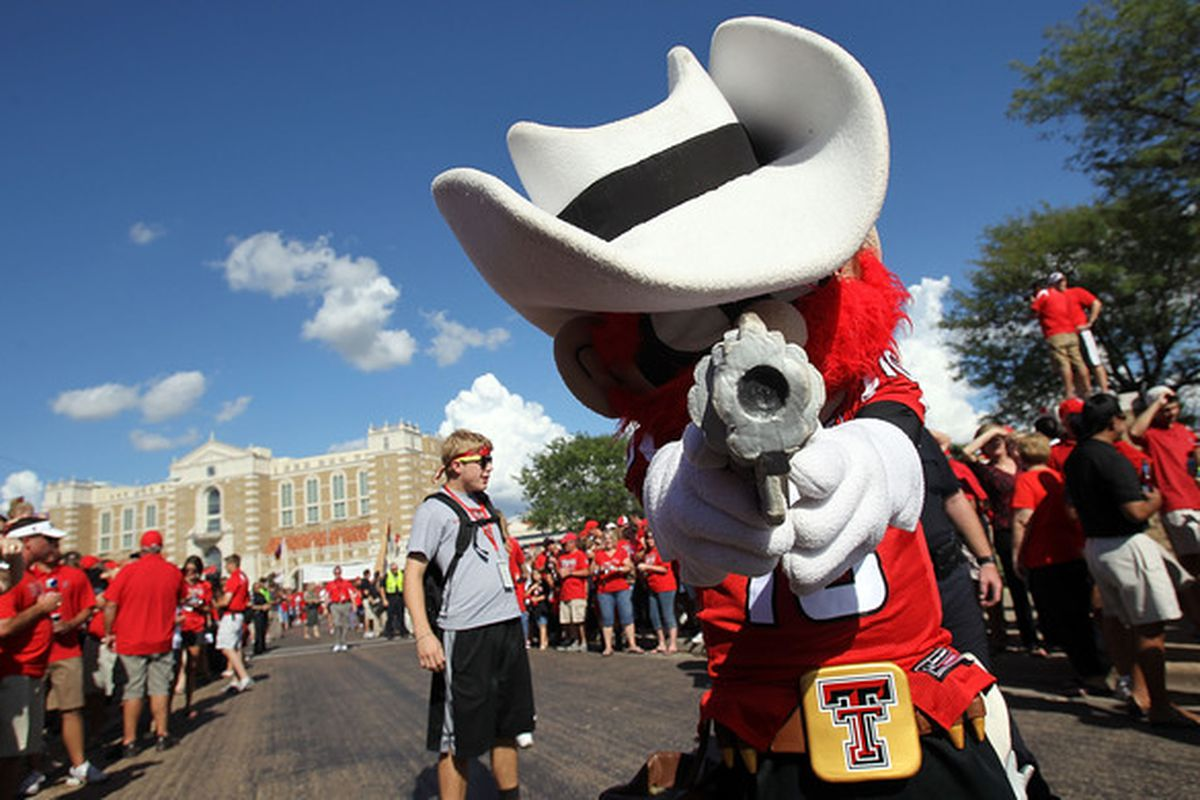 LUBBOCK TX - SEPTEMBER 18:  Raider Red the mascot of the Texas Tech Red Raiders poses for a photo before a game against the Texas Longhorns at Jones AT&T Stadium on September 18 2010 in Lubbock Texas.  (Photo by Ronald Martinez/Getty Images)