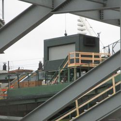 Temporary staircase leading up to the center field TV camera booth -