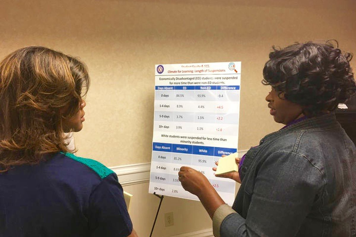 From left: Shelby County school board members Miska Kay Bibbs and Stephanie Love discuss district data in an exercise during a two-day retreat with other district leaders in Memphis.