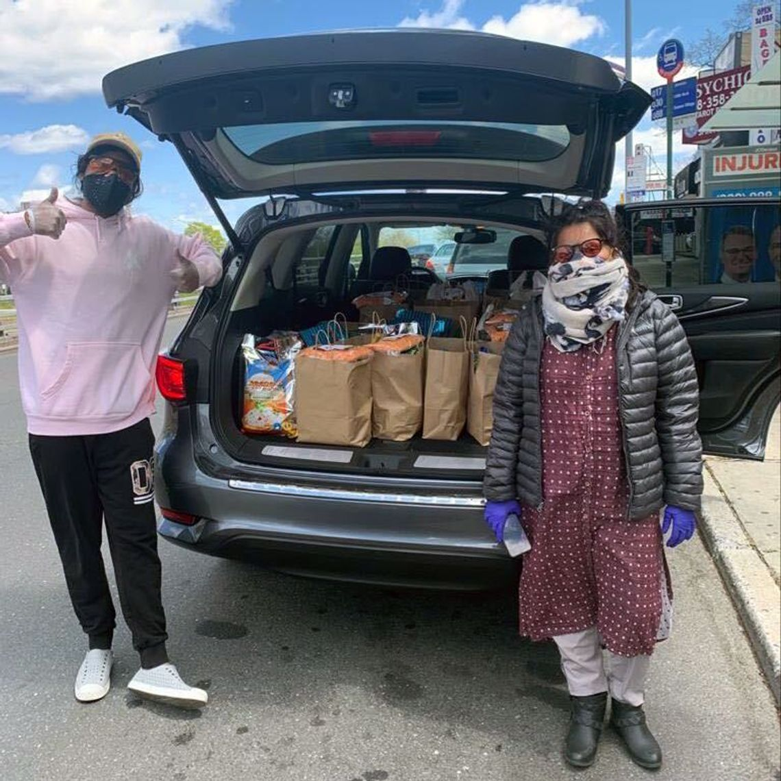 Queens Mutual Aid Network volunteers, including co-leader Moumita Ahmed, right, have delivered groceries to hundreds of families across the borough.
