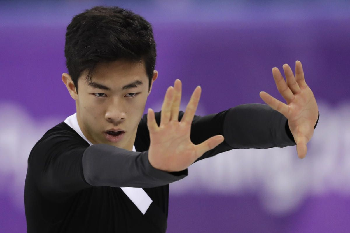 Nathan Chen of the United States performs during the men's free figure skating final in the Gangneung Ice Arena at the 2018 Winter Olympics in Gangneung, South Korea, Saturday, Feb. 17, 2018. (AP Photo/Bernat Armangue)
