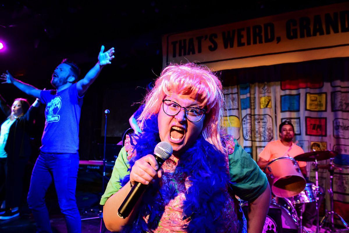 "Barrel of Monkeys company members perform a scene from ""That's Weird, Grandma."" | Evan Hanover"
