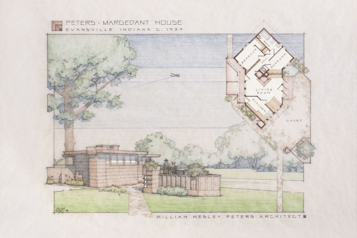 A new rendering of the Peters-Margedant House, done in the style of Frank Lloyd Wright renderings from the '30s.