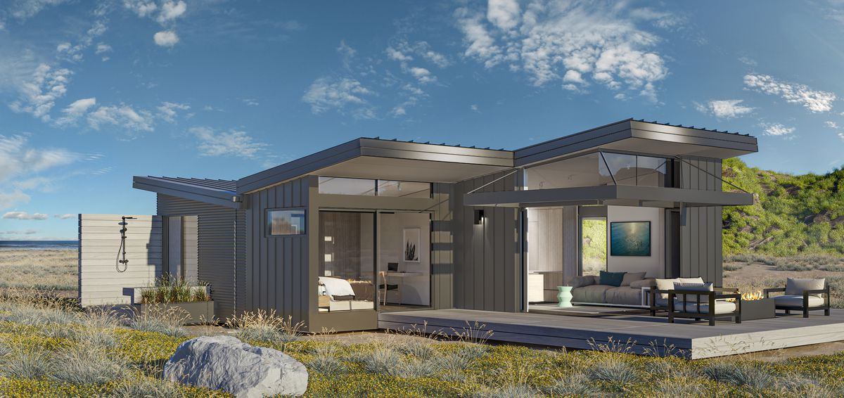 Rendering of prefab house with outdoor shower.