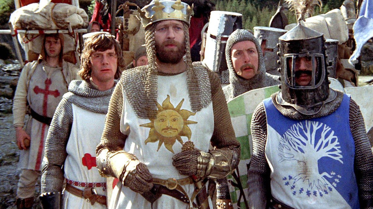 a group of knights looking confused