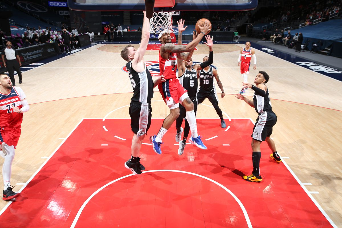Bradley Beal #3 of the Washington Wizards shoots the ball during the game against the San Antonio Spurs on April 26, 2021 at Capital One Arena in Washington, DC.