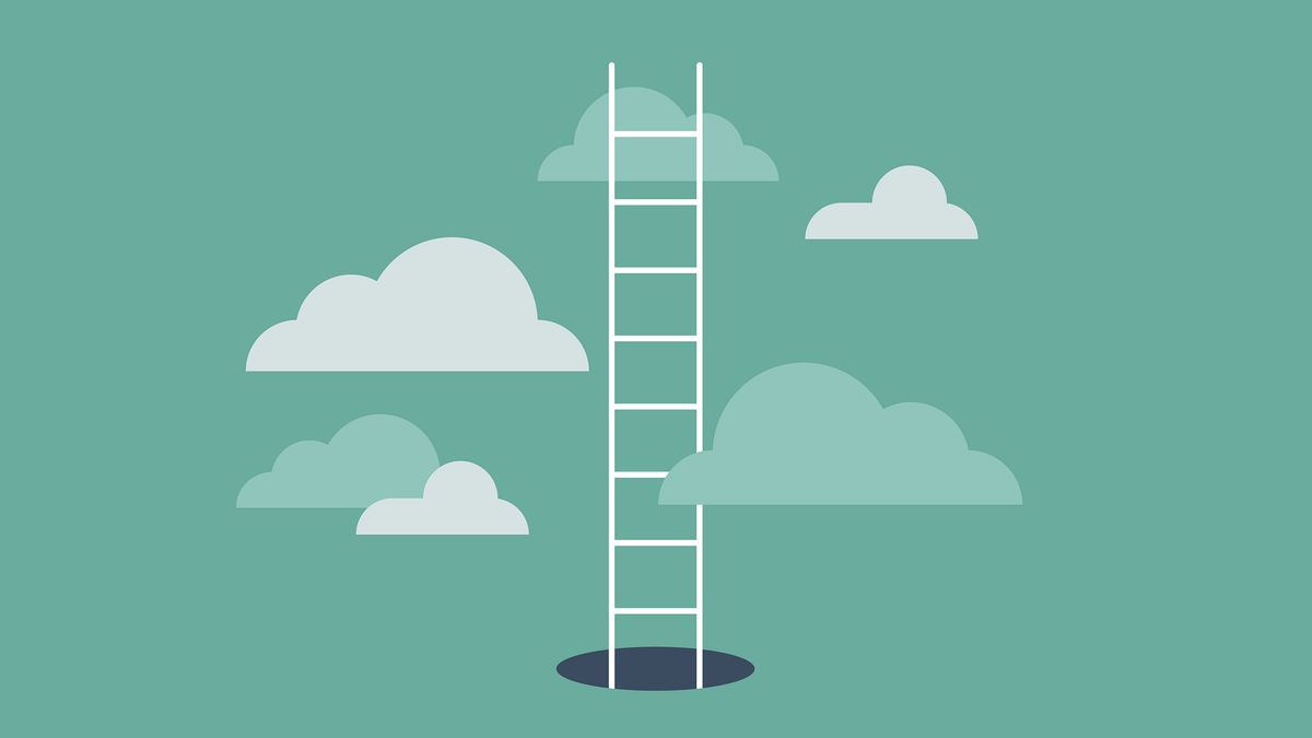 An illustration of a ladder coming out of a hole into a sky with clouds