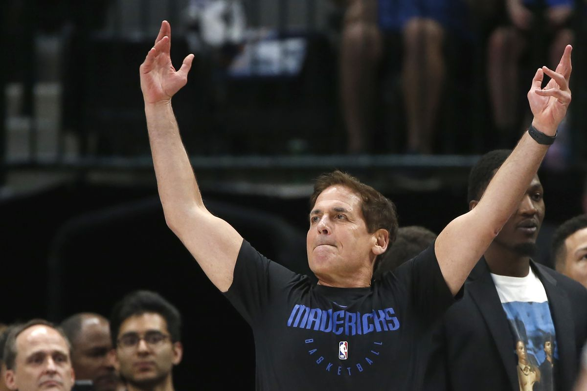 Dallas Mavericks owner Mark Cuban looks on as the Mavericks play the Denver Nuggets during the second half of an NBA basketball game, Wednesday, March 11, 2020, in Dallas. The Mavericks won 113-97.